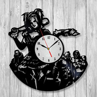 Joker and harley quinn vinyl wall record clock