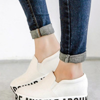 White I CAN ALWAYS BE MYSELF AROUND YOU Print Flatform Plimsolls - Choies.com
