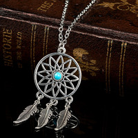 Women Fashion Jewelry Silver Feather Tassel Pendant Dream Catcher Necklace + Gift Box
