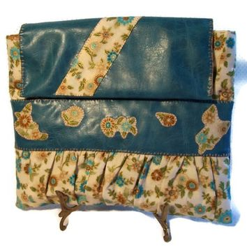 Clutch Purse Turquoise Blue Brown Cream Floral Faux Leather Shopping