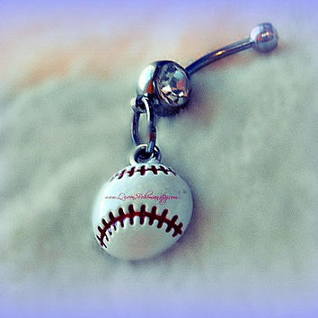 Softball or Baseball Belly Ring, Baseball Navel Piercing, Athletic, Athlete, Belly Button, Summer Time Sports,Beach Girl, Ready to Ship