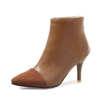Pointed Toe Faux Leather High Heel Ankle Boots Women Shoes 2089