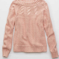 Aerie Cable Pullover Sweater, Tangerine Crush