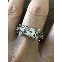 The Redlands, A 2CT Russian Lab Diamond Leaf Engagement Ring
