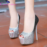 15cm Gold pumps gold thin high heels pumps shoes for women Female high-heeled sandals paillette platform open toe stiletto shoes