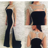 Jovani 22954 In Stock Black/Nude Size 6 Long Sleeve Evening Gown Pageant Prom Dress