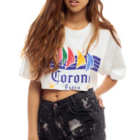 Beer Shirt 90s CORONA Tshirt Extra Crop Top Graphic Cropped T Shirt 1990s Hipster Vintage Women Top American Turquoise Surf Large