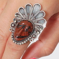 Vintage Native American JASPER & Sterling Silver INDIAN CHIEF Ring