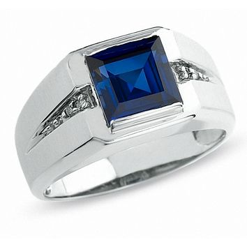 Men's Lab-Created Blue Sapphire Ring in 10K White Gold w/ REAL Diamonds