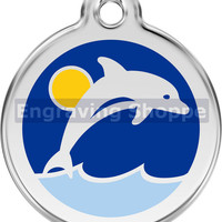 Dolphin Enamel and Stainless Steel Personalized Custom Pet Tag with LIFETIME GUARANTEE ID Tag Dog Tags and Cat Tags Free Engraving