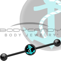 Black Turquoise Nautical Anchor Industrial Barbell | Body Candy Body Jewelry