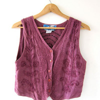 Vintage button up tank top. cropped vest. embroidered purple tribal tank.