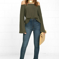 Gentle Stream Olive Green Off-the-Shoulder Top