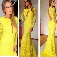 Women's Fashion Lace Mosaic Hollow Out Backless Long Sleeve Mermaid Dress Prom Dress [6514399623]