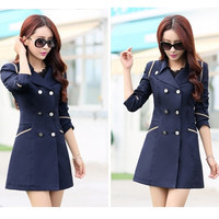 New Fashion Women Slim Fit Trench Double-breasted Coat Jacket Outwear = 1956189700