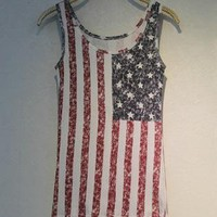 Fade Color Style Vest with USA Stars and the Stripes Flag A1