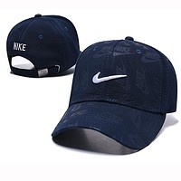 NIKE Summer Popular Women Men Embroidery Sports Sun Hat Baseball Cap Hat Navy Blue