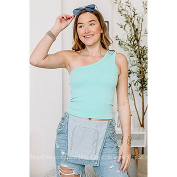 One Shoulder Tank Style Ribbed Crop Top | Colors
