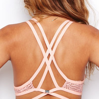 SKIVVIES by For Love & Lemons Love You Knot Bondage Bralette in Peach Quartz
