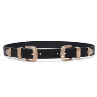 Sweet Melody Black and Gold Double Buckle Belt