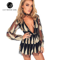 Elegant 3d Embroidery Feather Sashes Jumpsuit Overalls Transparent Mesh Sleeves Playsuit Women Deep V Neck Black Sexy Rompers