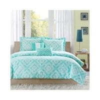 Reversible Teen Kids Girls Teal Comforter Bedding Set with Pillows (Twin/twin Xl) Includes Scented Candle Tart