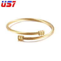 US7 Rock Stainless Steel Wire Line Gold Mens Bracelets & Bangles Punk Hip Hop Rock Adjustable Cuff Bangle For Men Jewelry Gift
