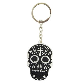 Day Of The Dead Mexican Sugar Skull Rubber Key Ring KeyChain