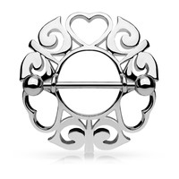 Silver Tribal Hearts Hollow Nipple Shield with 316L Surgical Steel Barbell 14ga Nipple Barbell