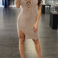 Casual Drawstring Bandeau Side Slit Plunging Neckline Lace Up Club Party Midi Dress