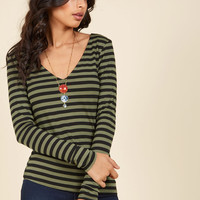 All Basics Covered Long Sleeve Top in Olive Stripes | Mod Retro Vintage Short Sleeve Shirts | ModCloth.com