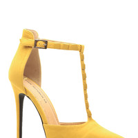 Mustard Faux Suede Pointed Toe Studded T Strap Heels
