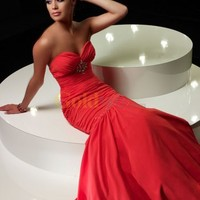 Sweetheart Full Length Stretch Chiffon Mermaid Gown with Crystal Brooch