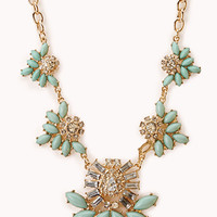 FOREVER 21 Charmed Faux Stone Bib Necklace Mint/Gold One