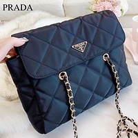 Prada New fashion leather chian crossbody bag shoulder bag women Black