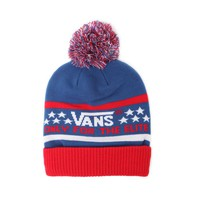 Vans Elite Pom Beanie - Mens Hats - Red/White/Blue - One