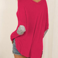 Fuschia Elbow Patch Sequined Loose T-Shirt