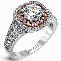 Simon G. 18K White and Rose Gold Prong Set Halo Engagement Ring