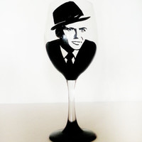 frank Sinatra wine glass - hand painted - black base - 20 oz