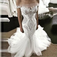 Mermaid Wedding Dress with Train Bridal Formal Maxi Gowns fro Dark Skin Vestidos Noiva Sheath Chic Custom Made Wedding Dresses