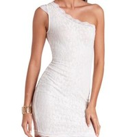 One Shoulder Bodycon Lace Dress by Charlotte Russe - Ivory