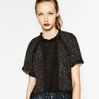 FRAYED TWEED TOP WITH LACE