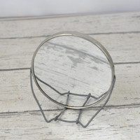 Vintage Mirror On Wire Stand Decorative Silver Tone Mirror Shaving Mirror Makeup Mirror
