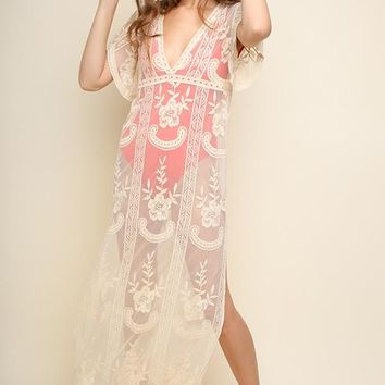 Cream Sheer Short Sleeve Lace Maxi Coverup