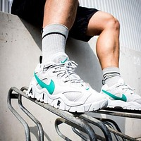 NIKE AIR BARRAGE LOW new colorblock platform sneakers Shoes White&Green
