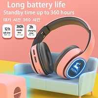 The new Macaron series wireless luminous bluetooth headset can be inserted card music headset Elk Forest print pink