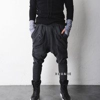 Drop Crotch Big Pocket Shirring Jersey Pants - restock