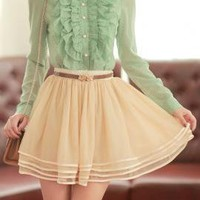 Truly Madly Satin Trim Tiered Mesh A-Line Skirt in Beige | Sincerely Sweet Boutique