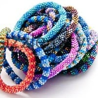 WHOLESALE 1 DOZEN (12 BRACELETS) RANDOM MIX OF Nepal Glass Beaded Bracelets
