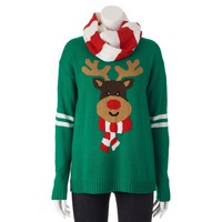 Eyelash Reindeer Ugly Christmas Sweater & Scarf - Juniors